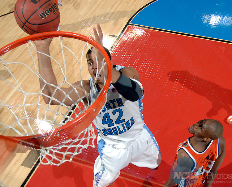 04 APR 2005: Center Sean May (42) of North Carolina scores two of his 26 points on the night during the Men's Division I Basketball Championships held at the Edward Jones Dome in St. Louis, MO. May was named the Most Outstanding Player of the game. The University of North Carolina went on to defeat the University of Illinois 75-70 to claim the championship title. Photo:  Ryan McKee/NCAA Photos