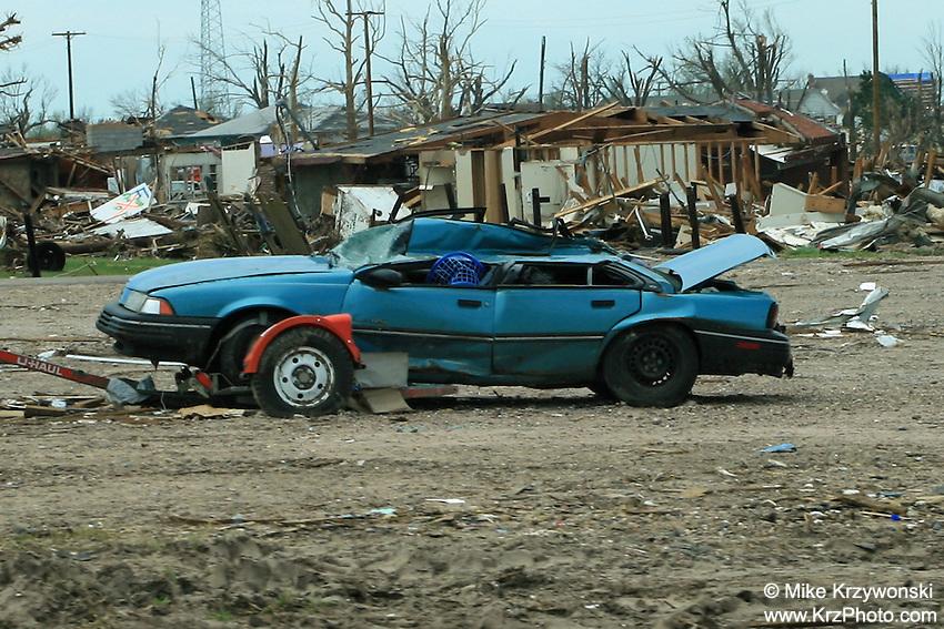 Smashed car among F5 tornado damage in Greensburg, KS, May, 2007