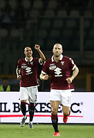 Calcio, Serie A: Torino - Sassuolo, Olympic stadium Grande Torino, August 25, 2019.<br /> Torino's Simone Zaza (l) celebrates after scoring during the Italian Serie A football match between Torino and Sassuolo at Olympic stadium Grande Torino, August 25, 2019.<br /> UPDATE IMAGES PRESS/Isabella Bonotto