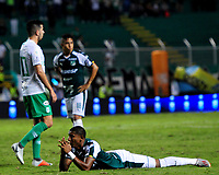 PALMIRA - COLOMBIA, 26-05-2019: Juan Camilo Angulo del Cali reacciona tras perder una opción de gol durante el partido entre Deportivo Cali y Atlético Nacional por la fecha 4, cuadrangulares semifinales, de la Liga Águila I 2019 jugado en el estadio Deportivo Cali de la ciudad de Palmira. / Juan Camilo Angulo of Cali reacts after fail a goal oportunity during match for the date 4, semifinal quadrangulars,, between Deportivo Cali and Atletico Nacional of the Aguila League I 2019 played at Deportivo Cali stadium in Palmira city.  Photo: VizzorImage / Nelson Rios / Cont