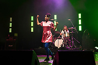 LONDON, ENGLAND - JUNE 10: Kathleen Hanna and Tobi Vail of 'Bikini Kill' performing at Brixton Academy on June 10, 2019 in Brixton, England.<br /> CAP/MAR<br /> ©MAR/Capital Pictures