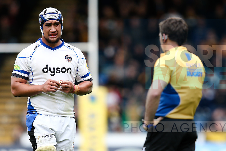 Bath's Leroy Houston looks concerned while waiting for JP Doyles' decision for upending London Wasps' Joe Simpson - Rugby Union - 2014 / 2015 Aviva Premiership - Wasps vs. Bath - Adams Park Stadium - London - 11/10/2014 - Pic Charlie Forgham-Bailey/Sportimage