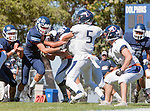 Palos Verdes, CA 09/24/16 - Ethan Gretzinger (Rolling Hills #5), Brevin Johnson (Rolling Hills #7) in action during the non-conference CIF 8-Man Football  game between Rolling Hills Prep and Chadwick at Chadwick.