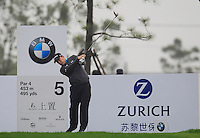 Richie Ramsay (SCO) tees off the 5th tee during Saturay's Round 3 of the 2014 BMW Masters held at Lake Malaren, Shanghai, China. 1st November 2014.<br /> Picture: Eoin Clarke www.golffile.ie