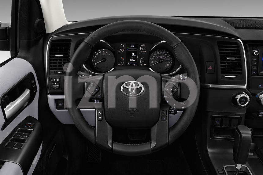 Car pictures of steering wheel view of a 2018 Toyota sequoia trd sport 5 Door SUV