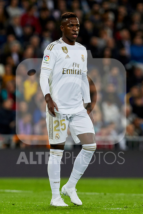Vinicius Junior of Real Madrid during La Liga match between Real Madrid and Real Betis Balompie at Santiago Bernabeu Stadium in Madrid, Spain. November 02, 2019. (ALTERPHOTOS/A. Perez Meca)