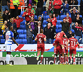 9th September 2017, Madejski Stadium, Reading, England; EFL Championship football, Reading versus Bristol City; Aden Flint of Bristol City celebrates scoring the first goal with his team