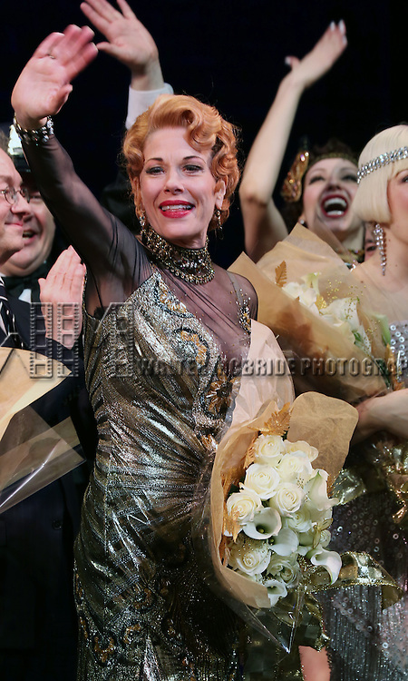 "Marin Mazzie during the Broadway Opening Night Performance Curtain Call for ''Bullets Over Broadway'""at the St. James Theatre on April 10, 2014 in New York City."