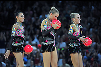 September 24, 2011; Montpellier, France;  (L-R) ROMINA LAURITO, ANZHELIKA SAVRAYUK, MARTA PAGNINI of Italian group finish performing with 5-balls on way to winning gold in the groups all around final at 2011 World Championships.