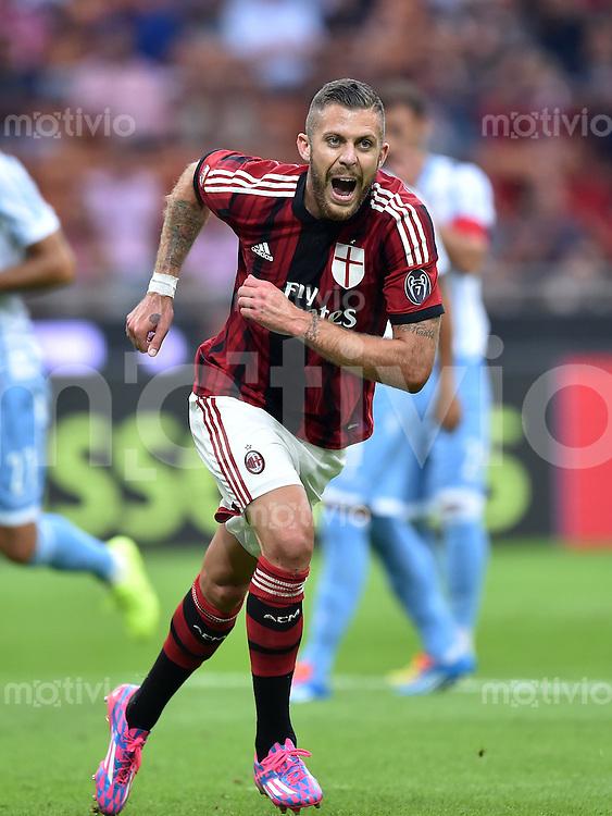 FUSSBALL INTERNATIONAL   SERIE A   SAISON  2014/2015   01. Spieltag AC Mailand - Lazio Rom                      31.08.2014 JUBEL AC Mailand;  Jeremy Menez
