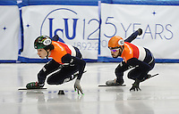SHORT TRACK: TORINO: 14-01-2017, Palavela, ISU European Short Track Speed Skating Championships, Final A 500m Men, Dylan Hoogerwerf (NED), Sjinkie Knegt (NED), ©photo Martin de Jong