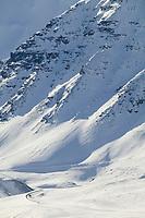 Steep decent of Atigun Pass, Brooks Range, along the James Dalton Highway in Arctic, Alaska.