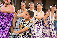 A hula group performs at the Hale'iwa Store Lots on the North Shore of O'ahu.