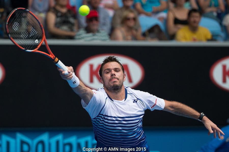 Stanislas Wawrinka (SUI)<br /> <br /> Tennis - Australian Open 2015 - Grand Slam -  Melbourne Park - Melbourne - Victoria - Australia  - 22 January 2015. <br /> &copy; AMN IMAGES