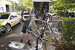 Team Columbia High Road mechanics prepare their Scott bikes before Stage 18 of the Tour de France 2009 an individual time trial running 40.5km around Lake Annecy, France. 23rd July 2009 (Photo by Eoin Clarke/NEWSFILE)
