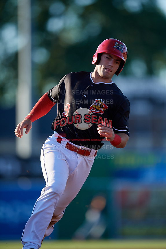 Batavia Muckdogs third baseman Denis Karas (9) running the bases during a game against the State College Spikes on July 7, 2018 at Dwyer Stadium in Batavia, New York.  State College defeated Batavia 7-4.  (Mike Janes/Four Seam Images)