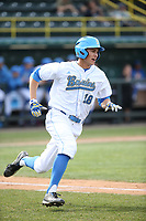 Jeremy Ydens (18) of the of UCLA Bruins runs to first base during a game against the University of San Diego Toreros at Jackie Robinson Stadium on March 4, 2017 in Los Angeles, California.  USD defeated UCLA, 3-1. (Larry Goren/Four Seam Images)