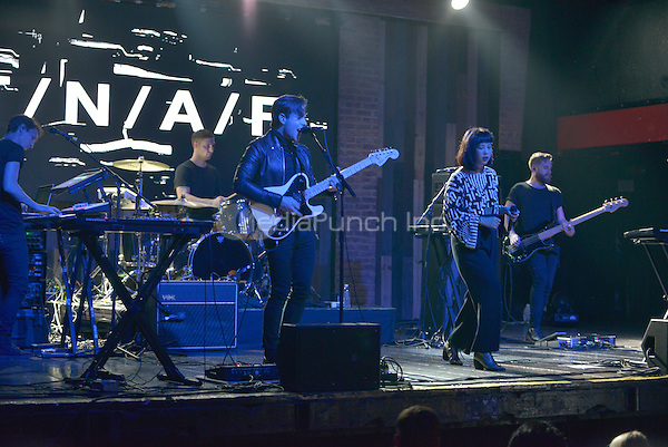 FORT LAUDERDALE, FL - DECEMBER 04: Aaron Short, Jesse Wood, Thom Powers, Alisa Xayalith, David Beadle of The Naked And Famous perform at Revolution Live on December 4, 2016 in Fort Lauderdale, Florida.  Credit: MPI10 / MediaPunch
