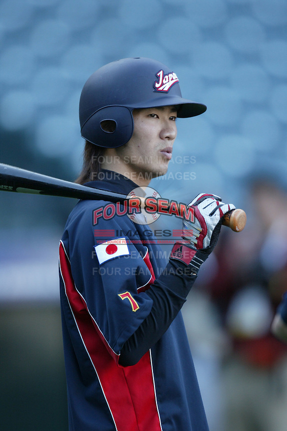 Tsuyoshi Nishioka of Japan during World Baseball Championship at Angel Stadium in Anaheim,California on March 15, 2006. Photo by Larry Goren/Four Seam Images