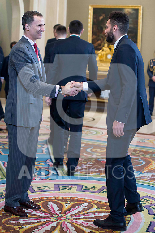 King Felipe VI of Spain and Jeffery Taylor during  audience to the champion  of the 80th edition of the cup of your R.M. The King, Real Madrid Basketball at Zarzuela Palace in Madrid. February 25, 2016 (ALTERPHOTOS/BorjaB.Hojas)