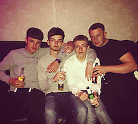 COPY BY TOM BEDFORD<br /> Pictured: Undated picture of Lewis Hlll (2nd L) taken from open social media account<br /> Re: Melissa Pesticcio, 23, Lewis Hall, 18 and Michael Wheeler, 22 have appeared at Cardiff Crown court in connection with the death of a 22-year-old woman following a collision in Cardiff.<br /> Sophie Taylor, 22, from Llandaff , died following a collision in the early hours of Monday, August 22, in which her black BMW 1 Series collided with a block of flats at the junction of Meteor Street and Moira Street in Adamsdown .<br /> Pesticcio, from Llanrumney , is charged with causing death by dangerous driving, causing serious injury by dangerous driving, and dangerous driving.