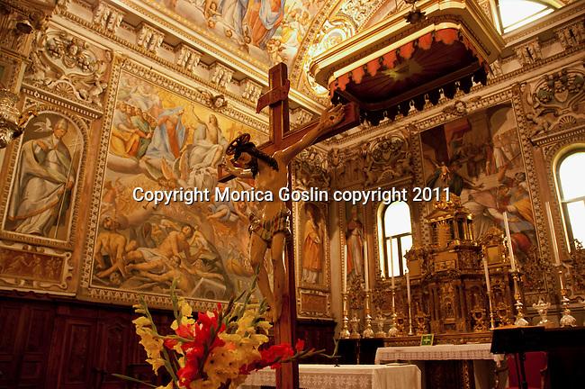 Paintings by Giovanni Mauro della Rovere, called Fiammenghino, in the 17th century in the Sant'Eusebio e Vittore church in Peglio, a town above Gravedona on Lake Como, Italy