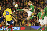 29 May 2008: Paul McShane (IRL) (center) plays the ball away from Colombia players. The Republic of Ireland Men's National Team defeated the Colombia Men's National Team 1-0 at Craven Cottage in London, England in an international friendly soccer match.