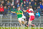 James O'Donoghue Kerry in action against Patsy Bradley Derry in round Two of the National Football league at Fitzgerald Stadium, Killarney on Sunday the 9th of February.