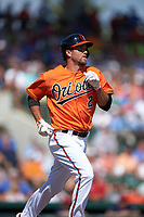 Baltimore Orioles shortstop J.J. Hardy (2) runs to first base during a Spring Training game against the Minnesota Twins on March 7, 2016 at Ed Smith Stadium in Sarasota, Florida.  Minnesota defeated Baltimore 3-0.  (Mike Janes/Four Seam Images)
