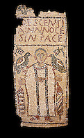 The Christian Eastern Roman Byzantine memorial funerary mosaic for Crescentia. <br /> Above the funerary portrait of Crescentia are the words: 'Crescentia, innocent and in Peace'. Crescentia is dressed in a dalmatic, a long wide-sleeved tunic, with a belt around the waiste and a neclace around her neck. Lit candles represent eternal life. 5th century AD from the western necropolis of Thabraca, Tabarka, Tunisia, Bardo Museum, Tunis, Tunisia. Black background