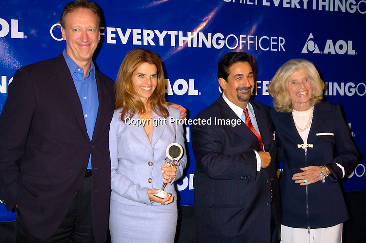 """John Miller, Maria Shriver, Ted Leonsis and Eunice Shriver ..at the America Online's First """" Chief Everything Officer"""" Award on September 28, 2004 at the Pierre Hotel, which honored Maria Shriver. ..Photo by Robin Platzer, Twin Images .."""