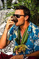 Namotu Island, Fiji (Sunday, June 2, 2013) Joel Parkinson (AUS)  drinking kava at the opening ceremony.- Onshore winds and small surf on offer this morning prompted Volcom Fiji Pro event organizers to call a lay day for competition as the remainder of the window is projecting increased surf and improved conditions.<br /> Event No. 4 of 10 on the 2013 ASP World Championship Tour, the Volcom Fiji Pro has brought the world's best surfers to one of the world's most idyllic surfing destinations in the South Pacific. Over the course of the 13-day window, the ASP Top 34 will do battle at the primary venue of Cloudbreak and potentially the secondary venue of Restaurants as this season's hunt for the world surfing crown continues.<br /> ?Only small surf on offer this morning with poor wind conditions,? Rich Porta, ASP International Head Judge, said. ?We've called a lay day for competition and expect improved conditions throughout the remainder of the event window. We'll be back tomorrow morning to make another assessment.?<br />  Photo: joliphotos.com