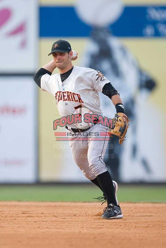 Shortstop Todd Davison (7) of the Frederick Keys makes a throw to first base at Ernie Shore Field in Winston-Salem, NC, Saturday, June 7, 2008.