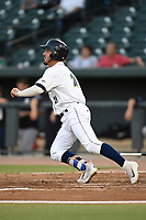 Right fielder Jay Jabs (21) of the Columbia Fireflies bats during a game against the Charleston RiverDogs on Tuesday, August 28, 2018, at Spirit Communications Park in Columbia, South Carolina. Columbia won, 11-2. (Tom Priddy/Four Seam Images)