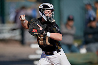 Shea McGahan during the Under Armour All-America Pre-Season Tournament, powered by Baseball Factory, on January 19, 2019 at Sloan Park in Mesa, Arizona.  Shea McGahan is a catcher from St. Louis, Missouri who attends Lindberg High School and is committed to Missouri.  (Mike Janes/Four Seam Images)