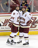Matt Lombardi (BC - 24), Matt Price (BC - 25) - The Boston College Eagles defeated the Merrimack College Warriors 7-0 on Tuesday, February 23, 2010 at Conte Forum in Chestnut Hill, Massachusetts.
