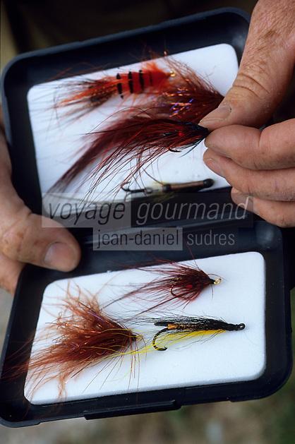 """Europe/Grande-Bretagne/Ecosse/Moray/Speyside/Spey River : Ian Gordon """"gilly"""" guide de pêche - Préparatifs - Les mouches sont préparées avec du poil de chien et des plumes de coq"""
