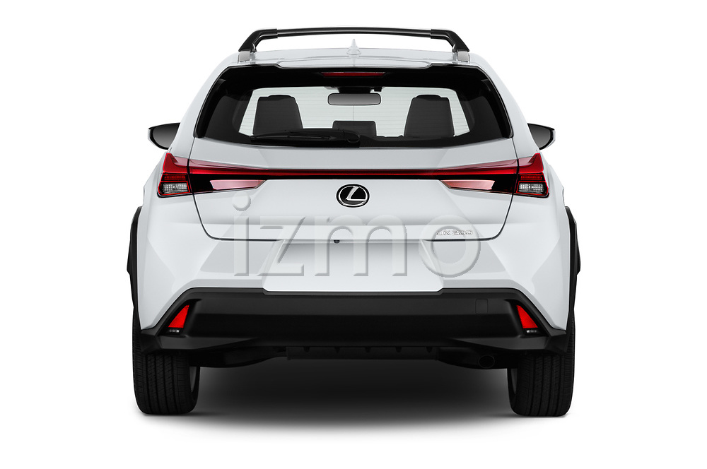 Straight rear view of 2019 Lexus UX 200 5 Door SUV Rear View  stock images