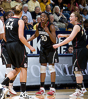 Berkeley, CA - March 4th, 2012: Nnemkadi Ogwumike of Stanford talks with her teammates during a basketball game against California in Berkeley, California.   Stanford won, 86-61.
