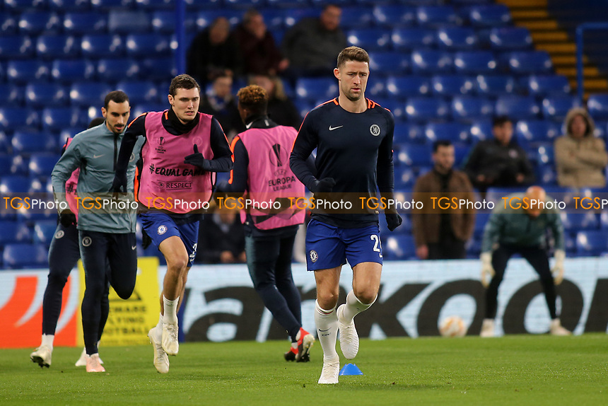 Gary Cahill of Chelsea warms up ahead of kick-off during Chelsea vs PAOK Salonika, UEFA Europa League Football at Stamford Bridge on 29th November 2018