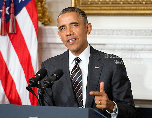 United States President Barack Obama announces his intent to nominate Timothy Massad as Chairman of the Commodity Futures Trading Commission (CFTC) during an event in the State Dining Room of the White House in Washington, D.C. on Tuesday, November 12, 2013.<br /> Credit: Ron Sachs / Pool via CNP