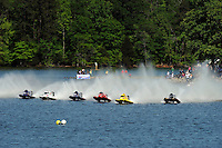3-4 May 2008, Pickwick,TN USA.Chris Fairchild crash, frames 1 to 8: Boats speed away from the dock with Terry Rinker leading, Fairchild has made a slow start, Rinker takes the corner from Fairchild, Fairchild runs through Rinker's roostertail and hooks to the left on landing and is hit by Randy Rinker, smashing Fairchilds cockpit and breaking his left leg, rescue crew struggles to remove Fairchild from his shattered safety cell..©2008 F.Peirce Williams