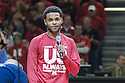 March 9, 2014: Senior Ray Gallegos (15) of the Nebraska Cornhuskers addresses the fans on senior night before the game against the Wisconsin Badges at the Pinnacle Bank Arena, Lincoln, NE. Nebraska 77 Wisconsin 68.