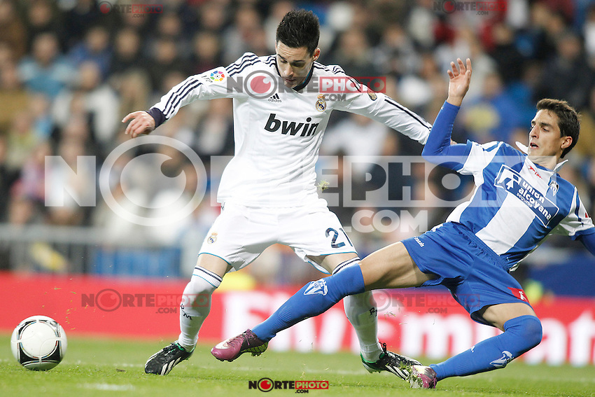 Real Madrid's Jose Callejon (l) and Alcoyano's Akaitz during Spanish King's Cup match.November 27,2012. (ALTERPHOTOS/Acero) /NortePhotoMx