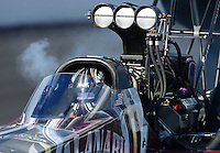 Nov. 9, 2012; Pomona, CA, USA: NHRA top fuel dragster driver Shawn Langdon during qualifying for the Auto Club Finals at at Auto Club Raceway at Pomona. Mandatory Credit: Mark J. Rebilas-