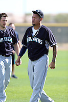 Felix Hernandez of the Seattle Mariners participates in the first day of spring training workouts at the Mariners complex on February 13, 2014 in Peoria, Arizona (Bill Mitchell)