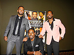 """As The World Turns' & AMC actor Lamman Rucker stars in The Man in 3B written by Carl Weber with cast: Christian Keyes, Billy Dee Williams (in poster) and Anthony Montgomery who is now on General Hospital as """"Andre Maddow"""" starting November 6, 2015 with its premier on September 25, 2015 at the 19th Annual Urbanworld Film Festival in New York City, New York.  (Photo by Sue Coflin/Max Photos)"""