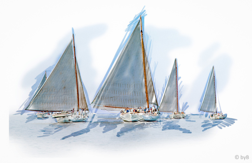 Rendition of race start from the  Fine Art Limited Edition &quot;Skipjack Sunday&quot; collection.<br /> For close up detail: http://www.petersongallery.com/image/I0000lfkJjfv4SDo