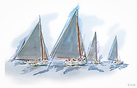 Rendition of race start from the  Fine Art Limited Edition &quot;Skipjack Sunday&quot; collection.<br />