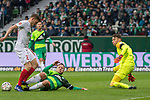 10.02.2019, Weser Stadion, Bremen, GER, 1.FBL, Werder Bremen vs FC Augsburg, <br /> <br /> DFL REGULATIONS PROHIBIT ANY USE OF PHOTOGRAPHS AS IMAGE SEQUENCES AND/OR QUASI-VIDEO.<br /> <br />  im Bild<br /> <br /> Michael Gregoritsch (FC Augsburg #11)<br /> Philipp Bargfrede (Werder Bremen #44)<br /> Jiri Pavlenka (Werder Bremen #01)<br /> <br /> Foto © nordphoto / Kokenge